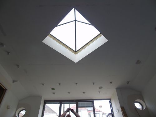 pyramid roof lights from inside