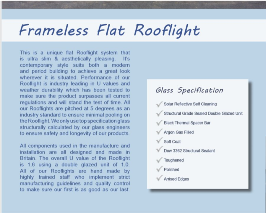 Frameless Flat Rooflight