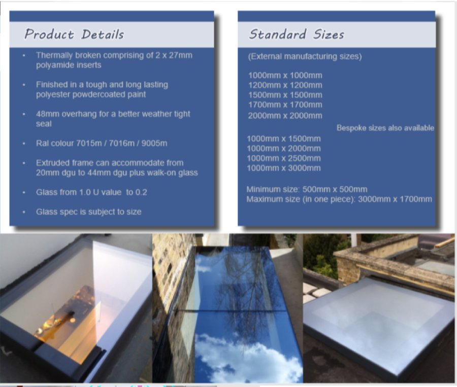 Rooflights product details and standard sizes