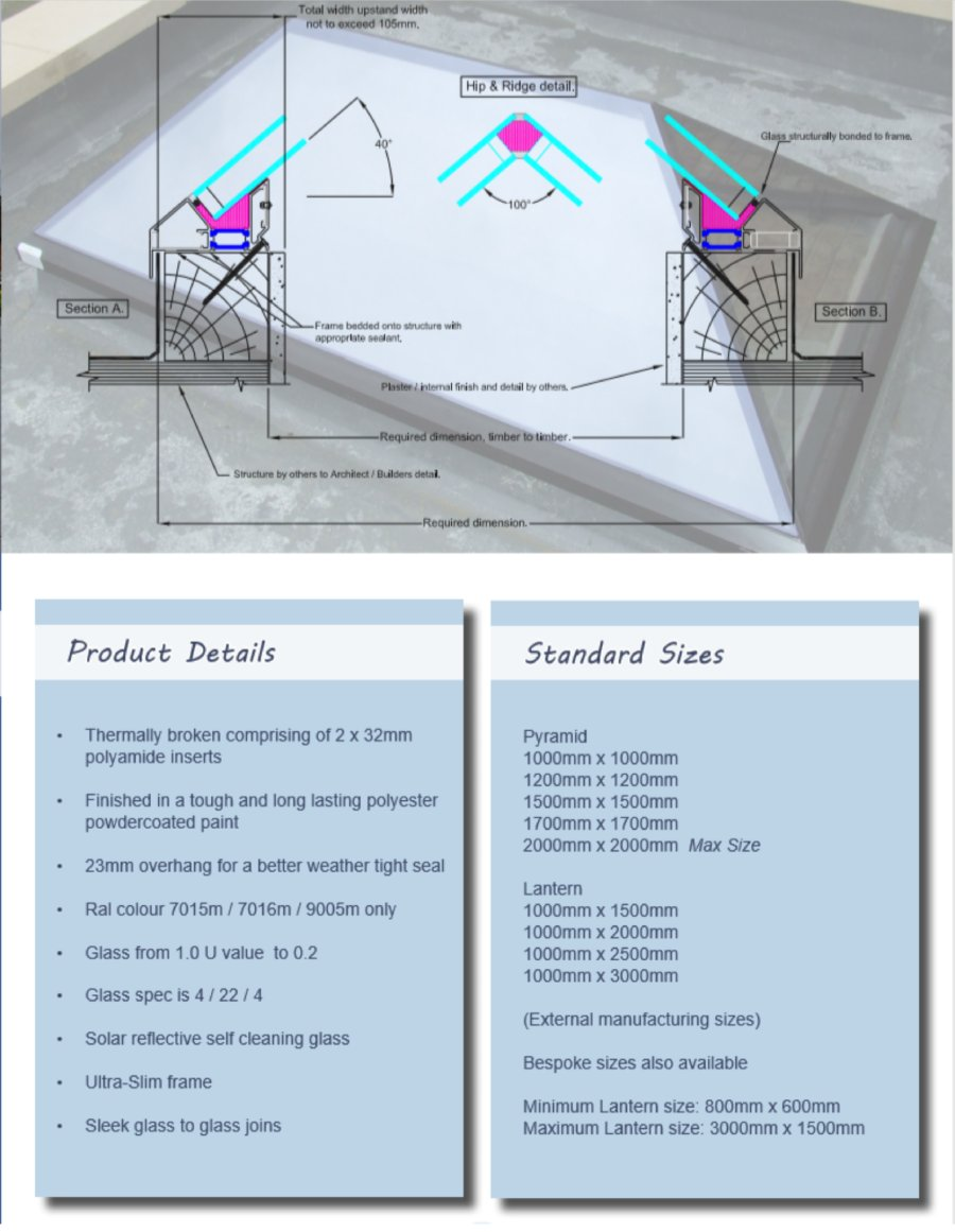 Rooflights Scheme, product details and standard sizes